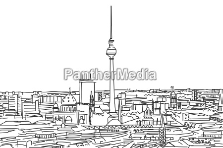 on the roofs of berlin scribble