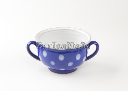 polka dot blue soup bowl