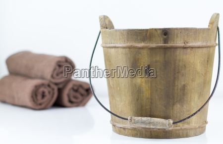 a wooden bucket in close up