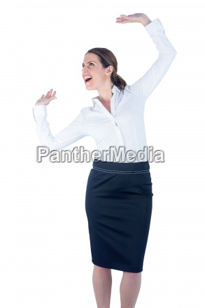 pretty businesswoman dancing and cheering
