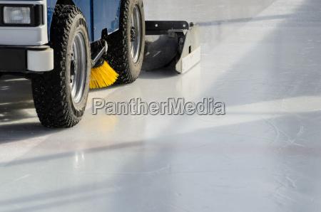 machine polishing the ice before the