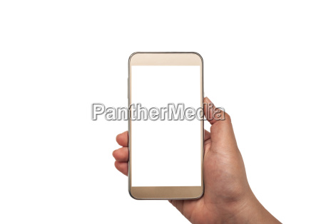 hand with smartphone white screen isolated
