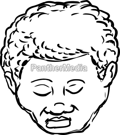 outlined black man with closed eyes