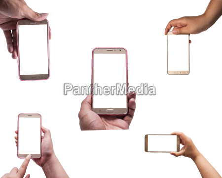 all hand with smartphone isolated clipping