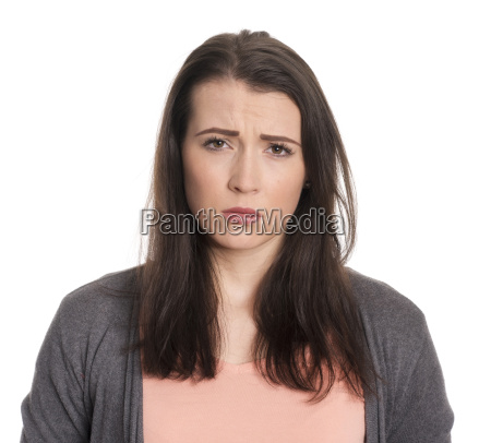 young woman in portrait looks scary