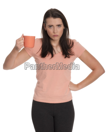 young woman holding a coffee cup