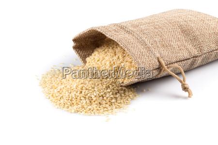 sesame seeds in flax sack