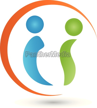two people and circle logo vector