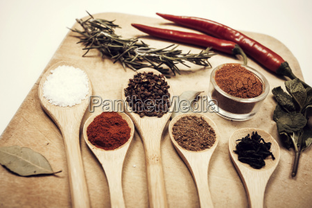 various spices on kitchen spoons on