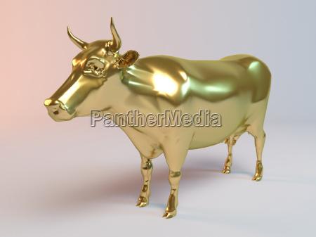 golden 3d animal cow