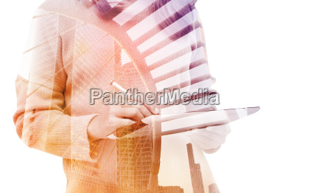 double, exposure, business, woman, using, tablet - 16121757