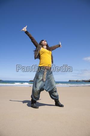 bliss pregnant woman at beach