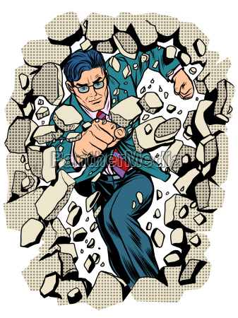 power business businessman breaks wall