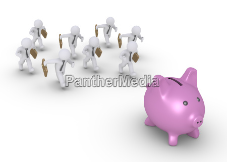businessmen chasing pig money box