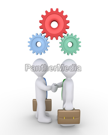 businessmen joined with cogs