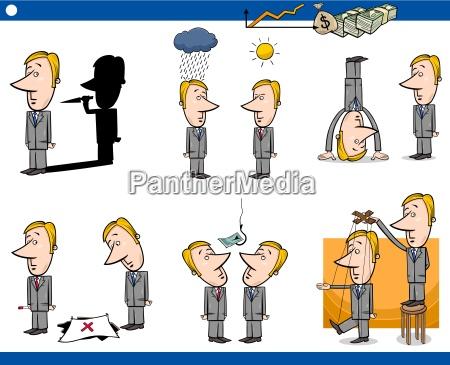 cartoon business concepts set