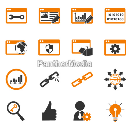 seo e sviluppo icone set