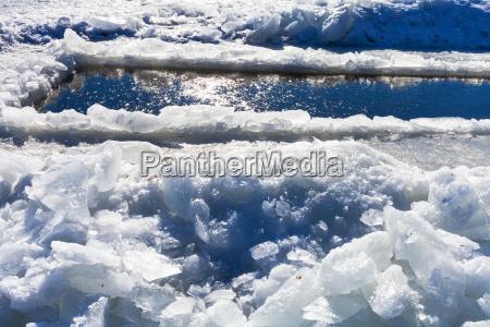 broken ice blocks and ice hole