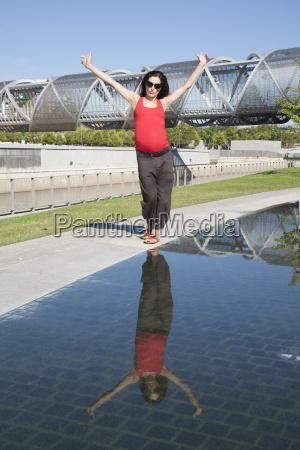 pregnant woman dancing in madrid city