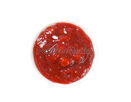bowl of strawberry jam