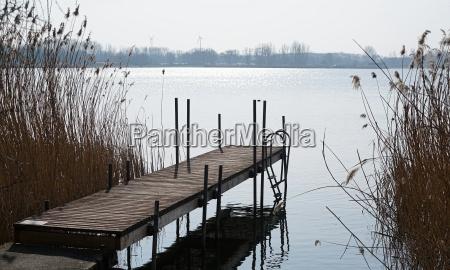footbridge on barleber lake near magdeburg