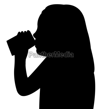 a child drinking water silhouette vector