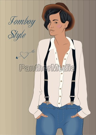 girl in the style of tomboy