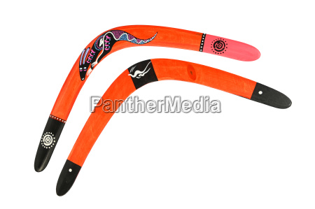 two wooden painted colorful boomerang over