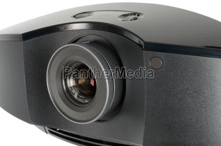 huge black home cinema projector isolated