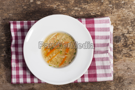 bavarian noodle soup in a plate