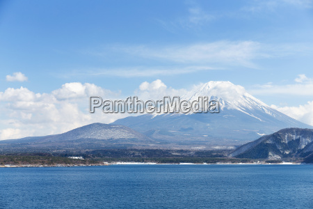 mt fuji with lake motosu in
