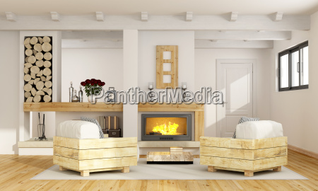 rustic room with fireplace