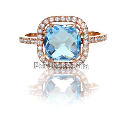 beautiful blue topaz and diamond rose