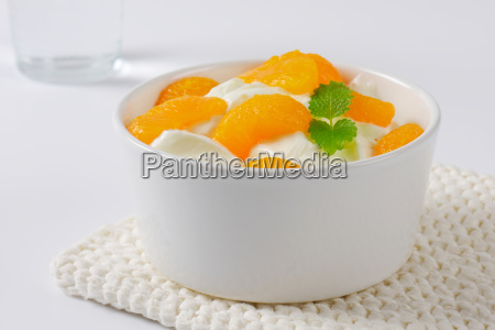 sour cream with canned tangerine pieces