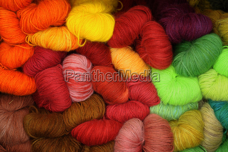 large collection of different colored wool