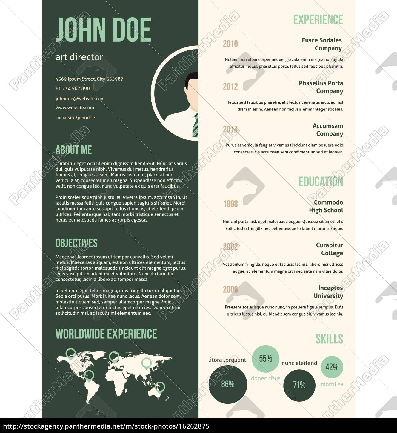 Royalty Free Vector 16262875 New Resume Cv Template With Green Stripe