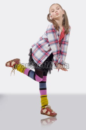 young girl in hipster style with