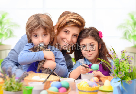 happy family preparing to easter