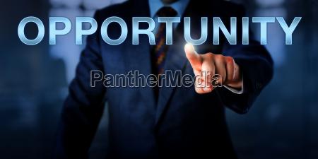 male entrepreneur pressing opportunity