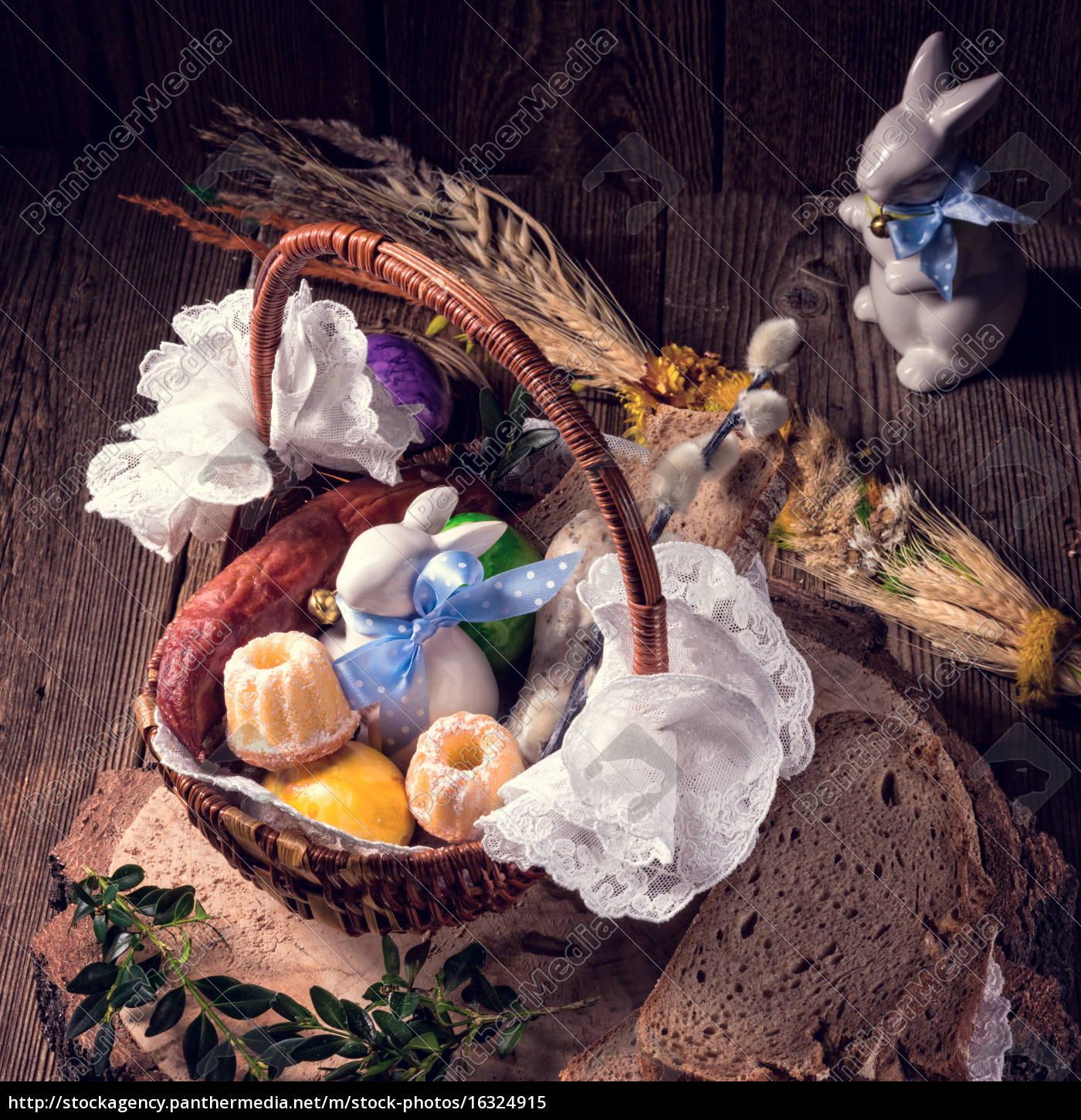 traditional, easter, basket, with, food - 16324915