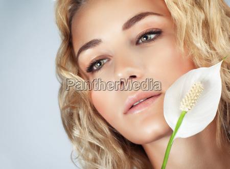 gentle girl with calla flower
