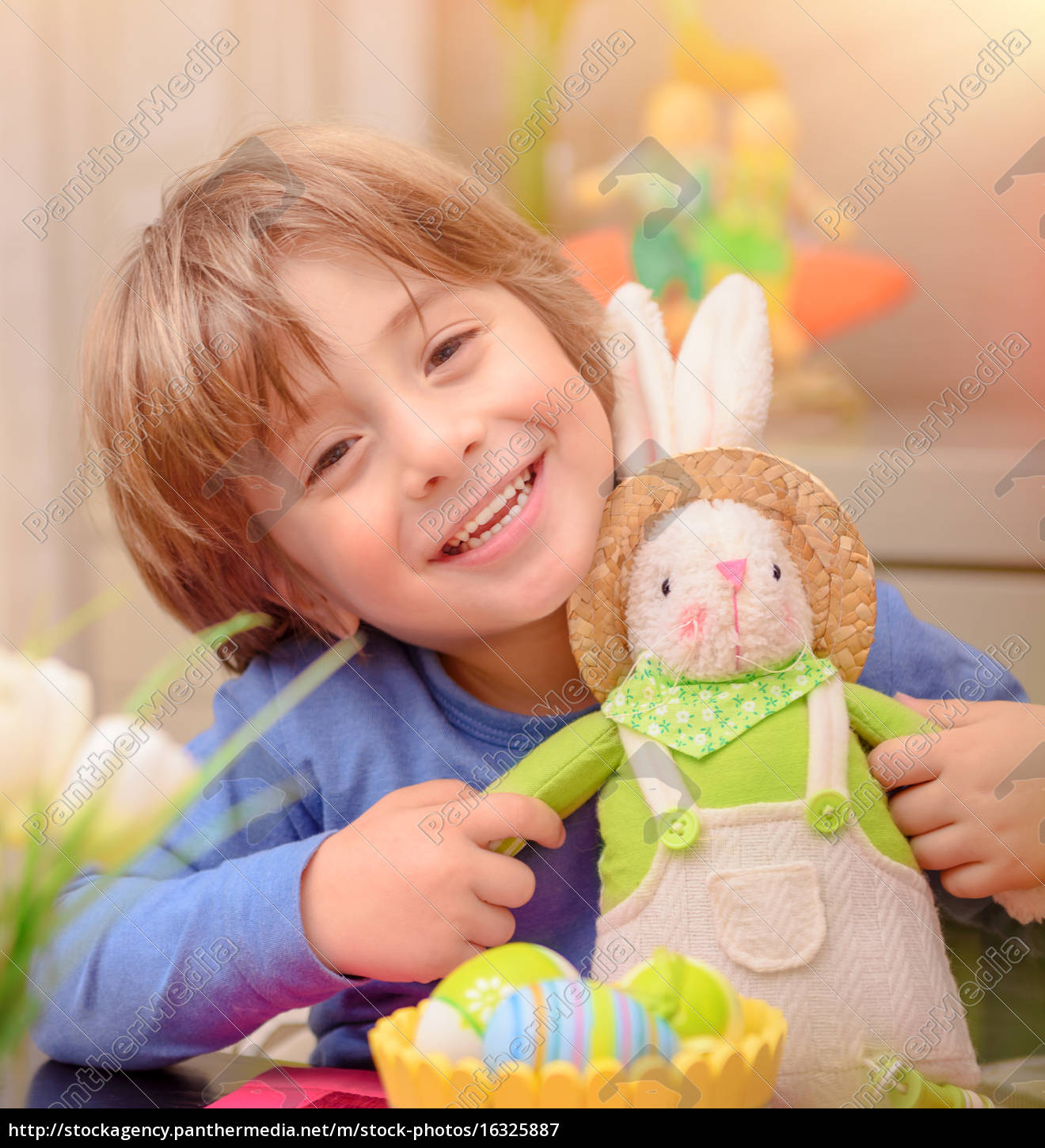 happy, boy, with, easter, bunny - 16325887