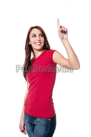 woman pointing upwards