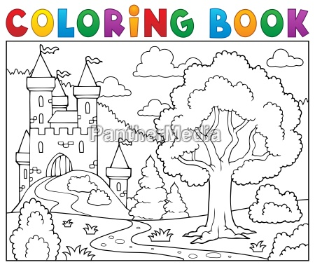 coloring, book, castle, and, tree - 16328529