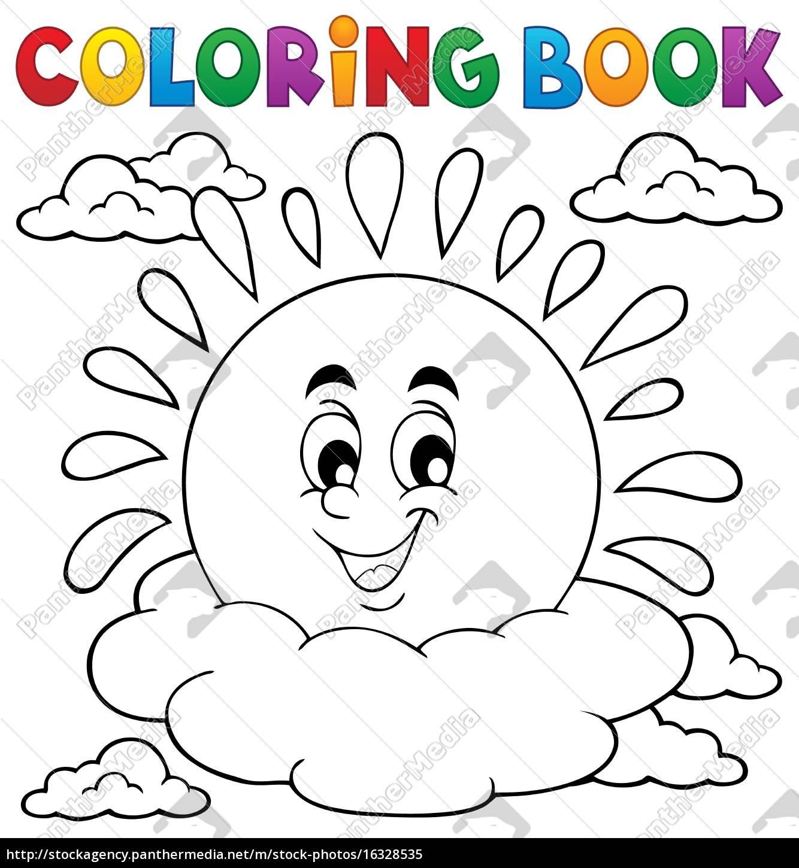 coloring, book, cheerful, sun, theme, 1 - 16328535