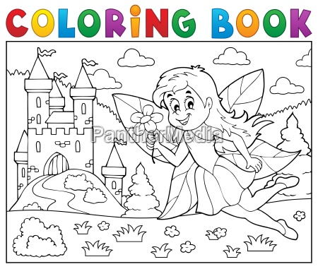 coloring, book, fairy, near, castle - 16328485