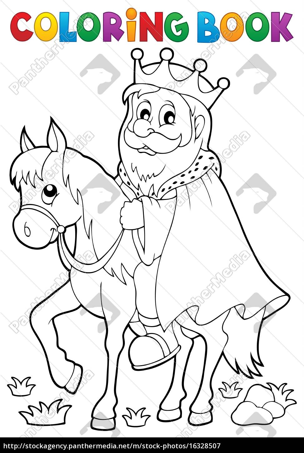 coloring, book, king, on, horse, theme - 16328507