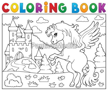 coloring, book, pegasus, near, castle - 16328557