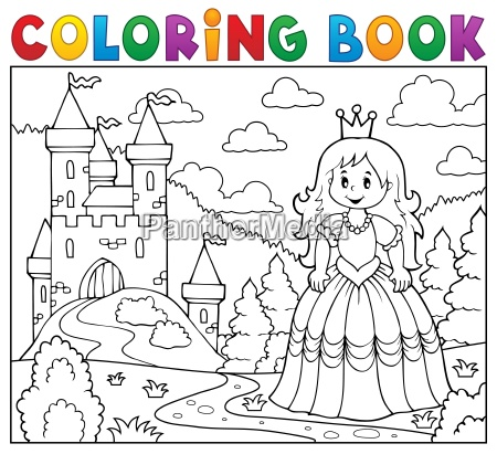 coloring, book, princess, near, castle - 16328563