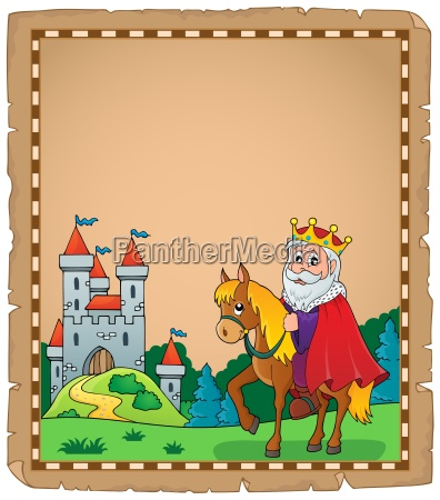 parchment, with, king, on, horse, theme - 16328655